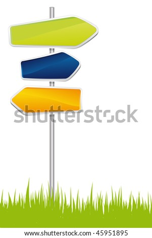 Signpost on the grass - vector illustration