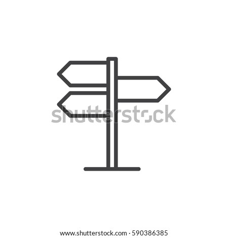 Signpost, pointer line icon, outline vector sign, linear style pictogram isolated on white. Symbol, logo illustration. Editable stroke. Pixel perfect