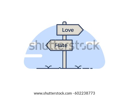 signpost with 2 choices between