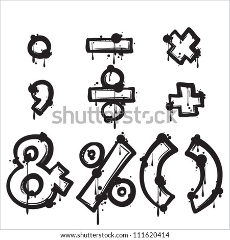 Signs and marks from dirty alphabet. Vector illustration