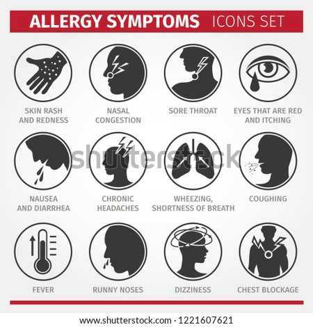 Signs and symptoms of allergies. Icons set. Vector signs