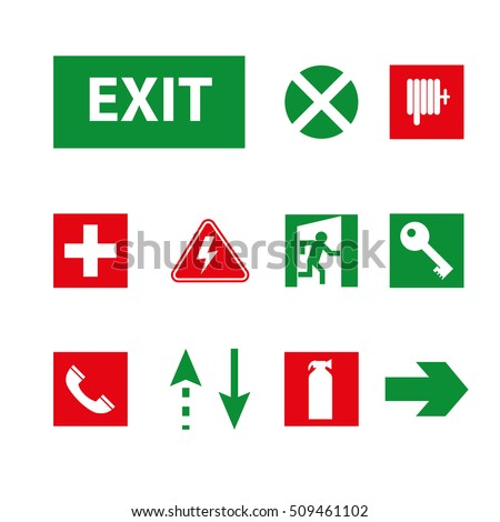 Vector Images Illustrations And Cliparts Signs For The Evacuation