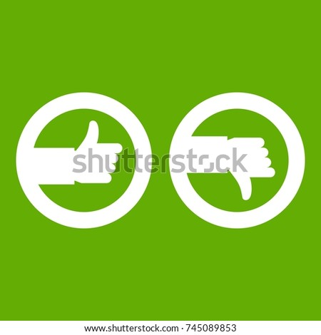 Signs hand up and down icon white isolated on green background. Vector illustration