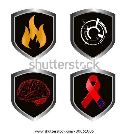 signs of european union, fire, techno, brain illustrations on metal shields