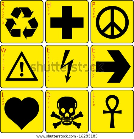signs on the yellow background - stock vector