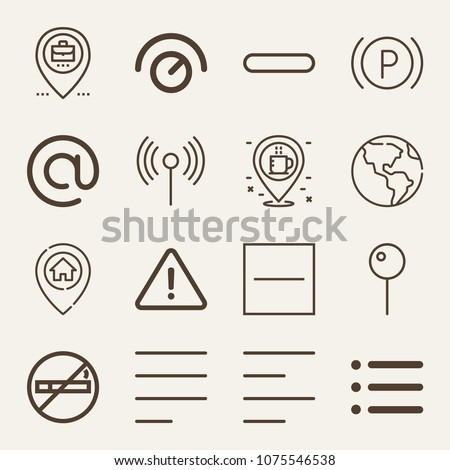 Signs outline vector icon set on wood color background such as wifi, earth globe, pin, coffee, parking, knob, no smoking, list, danger, minus, substract, left alignment