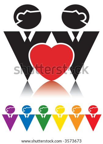 Signs representing homosexual couple.
