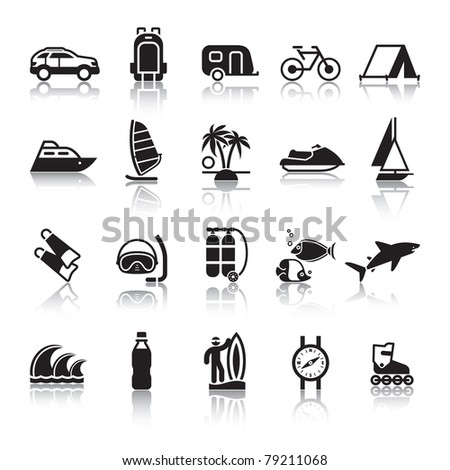 Signs. Tourism. Travel. Sports. Fourth set black icons with reflection