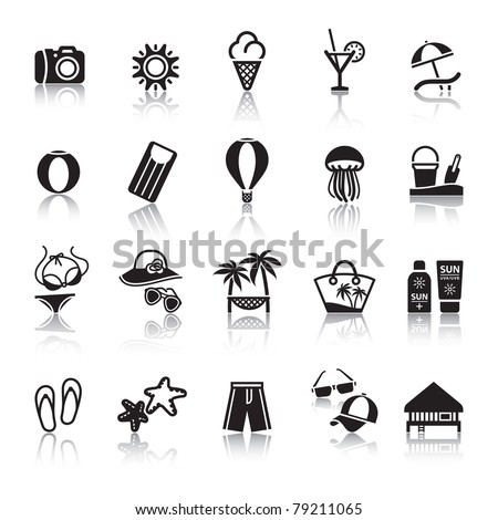 Signs. Tourism. Travel. Sports. Second set black icons with reflection