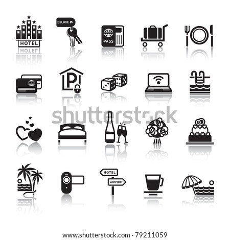 Signs. Tourism. Travel. Sports. Third set black icons with reflection