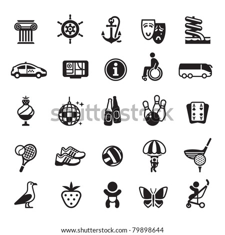 Signs. Vacation, Travel & Recreation. Fourth set icons in black