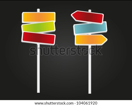Signs with arrows, red, green, blue and orange isolated on black background #104061920