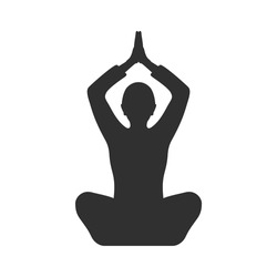 Sihlouette of a woman sitting in a yoga pose. Flat icon girl posture lotus pose.