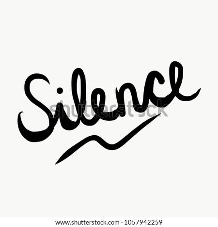 silence black word on white font