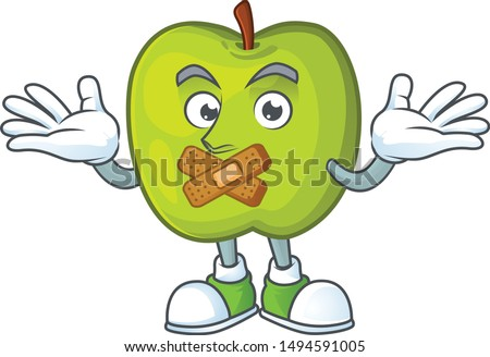 Silent granny smith apple character for health mascot