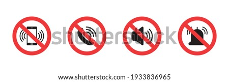 Silent mode set icon. Forbidden sign. Turn off sound pictogram. Prohibited signs for public place. Vector Stock photo ©