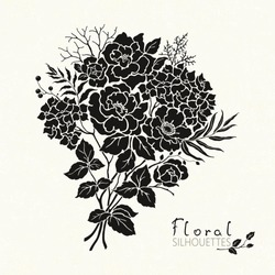 Silhoueete of bouquet with flowers Roses, Hydrangea, leaves and branches. Vector floral illustration on texture background.