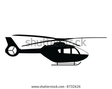 Silhouette a helicopter, vector illustration