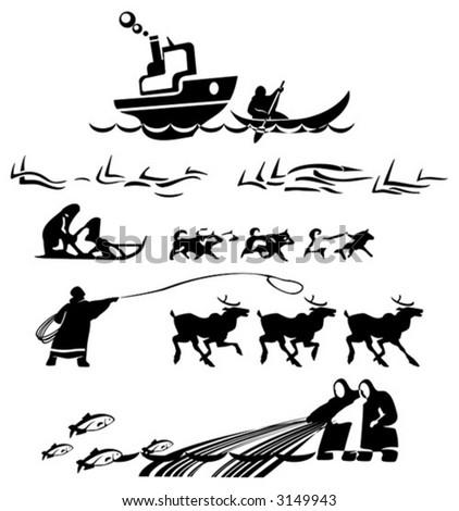 silhouette aboriginal north - stock vector