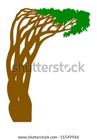 silhouette abstract tree - stock vector