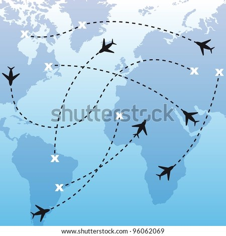 silhouette airplanes over map over blue background. vector