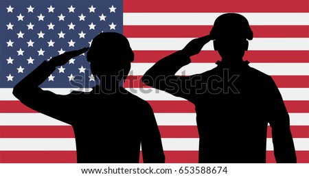 silhouette american soldiers