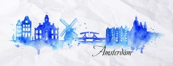 Silhouette Amsterdam city painted with splashes of watercolor drops streaks landmarks in blue tones