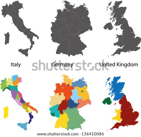 Silhouette and colored maps of the Germany, Italy and United Kingdom regions