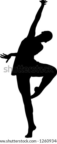 silhouette  and girl in the pose of dance