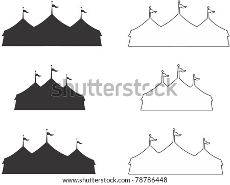 silhouette and outline of three ring circus tent.  Ideal for carnival signs