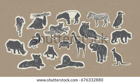 Silhouette Animals Set Wildlife Species Fauna Collection Hand Drawn Vector Illustration