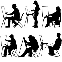 Silhouette, artist at work on a white background, vector illustration.