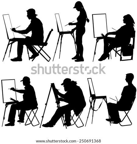 silhouette  artist at work on a