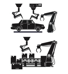 silhouette automated production line robotic factory banner