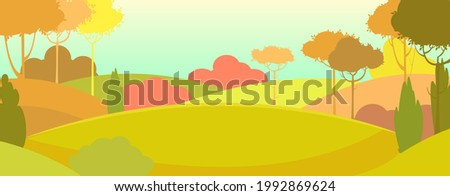 Silhouette autumn landscape. Beautiful scenic plant. Cartoon style. Hills with grass and trees. Cool romantic pretty. Flat design background illustration. Vector art