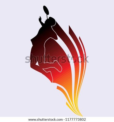 silhouette badminton illustration