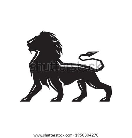 silhouette black lion standing
