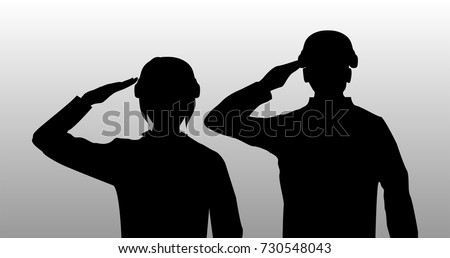silhouette black salute men and