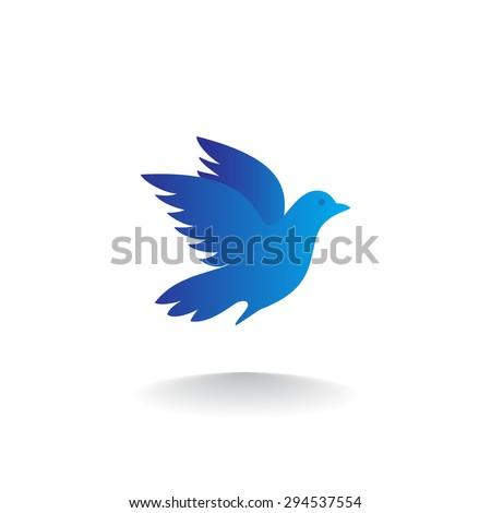 silhouette blue bird logo