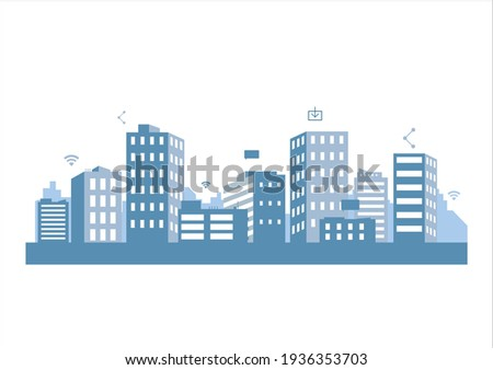 silhouette blue city building in flat illustration vector, urban cityscape design for background