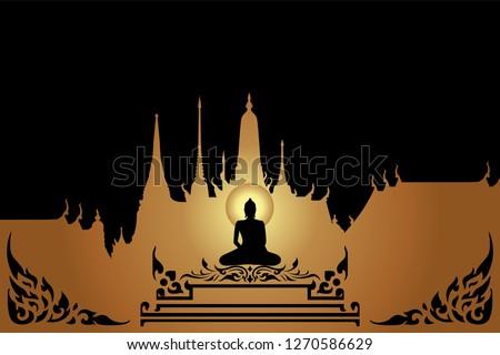 silhouette buddha Siddhartha gautama on gold background