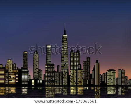 silhouette buildings  chicago