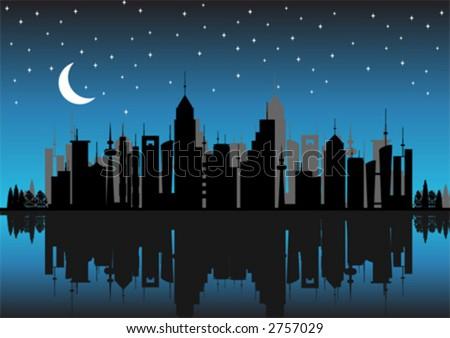 new york city skyline outline. City skyline by night with