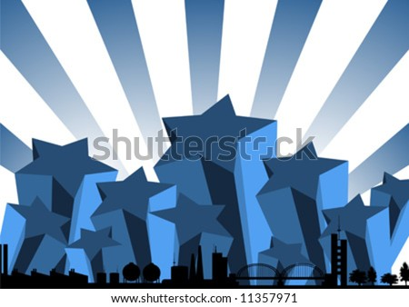 new york city skyline silhouette. City skyline over blue stars