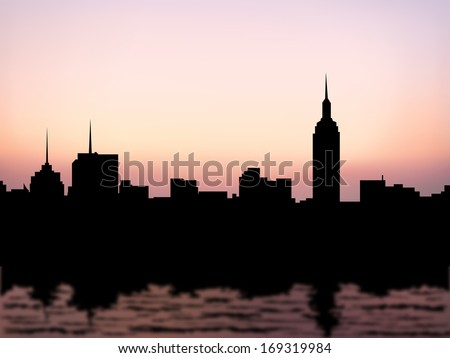 silhouette buildings  manhattan