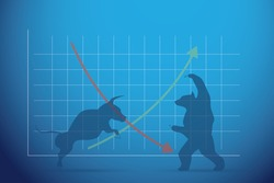 silhouette bull and bear with financial graph, stock market and business concept