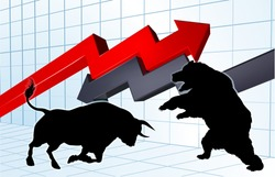 Silhouette bull versus bear mascot characters in front of a stock market or profit graph concept