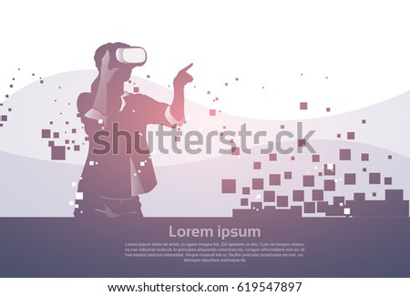 Silhouette Business Man Wear Virtual Reality Digital Glasses Digital Interface Screen Flat Vector Illustration