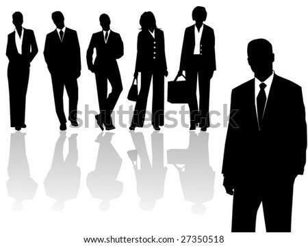 Silhouette business men & women - stock vector