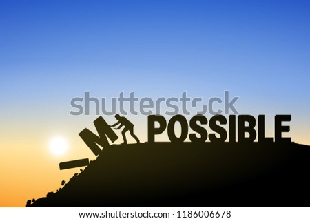 Silhouette businessman change impossible to possible text on top mountain, sky and sun light background. Business, success, challenge, motivation, achievement and goal concept. Vector illustration.
